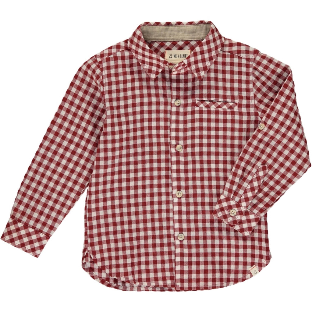 Rust Plaid Long Sleeve Shirt
