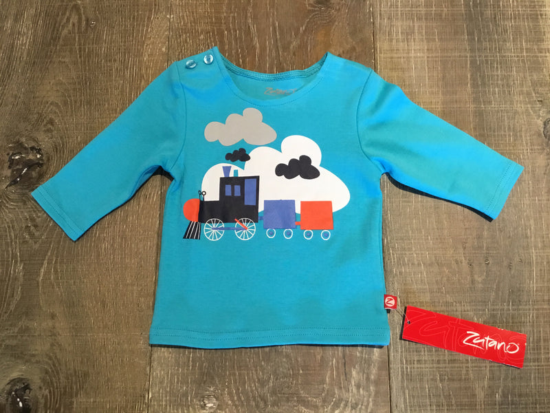 Choo Choo in Pool Blue Long Sleeve Shirt