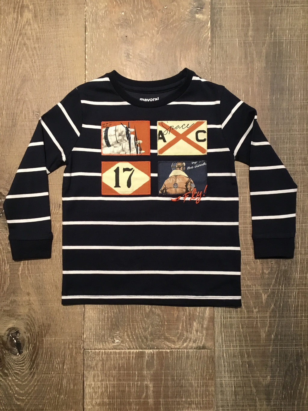 Navy Striped Aviator LS Tee