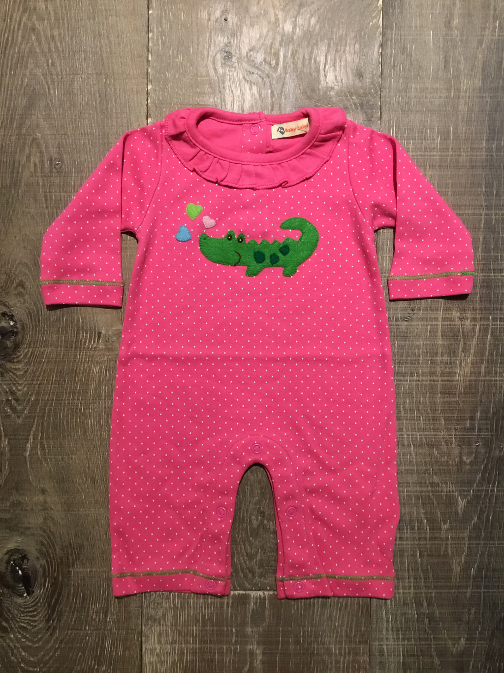 Alligator on Hot Pink Dotted Coverall