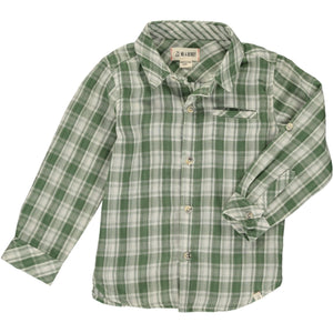 Green & Cream Plaid Long Sleeve Shirt
