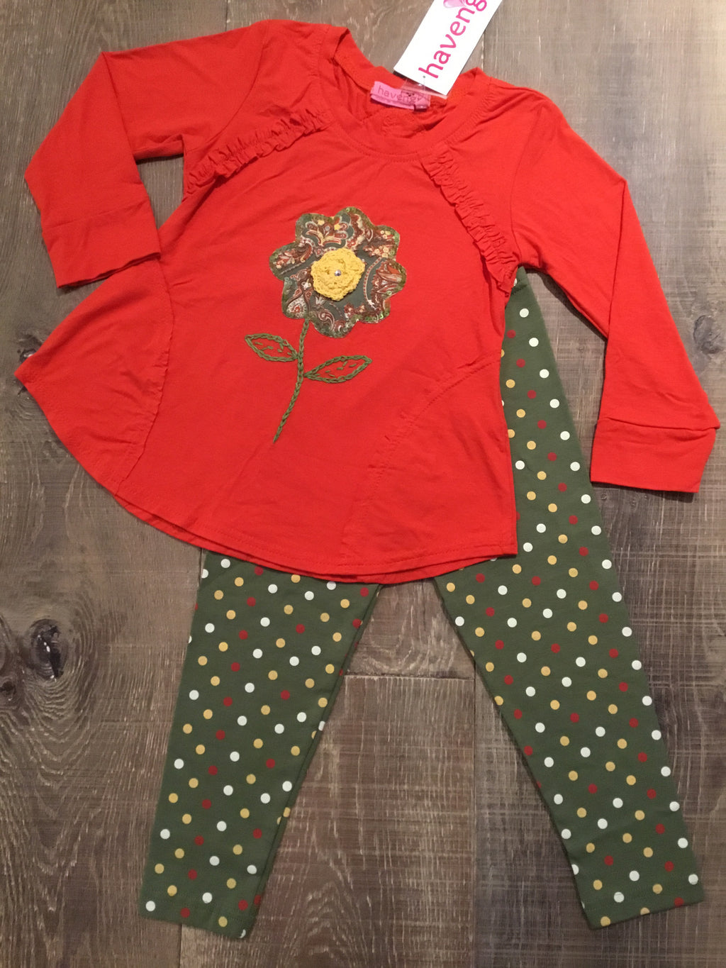 Spicy Orange Floral Top and Olive Dotted Leggings Set