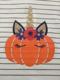 Pumpkin Unicorn Striped Top