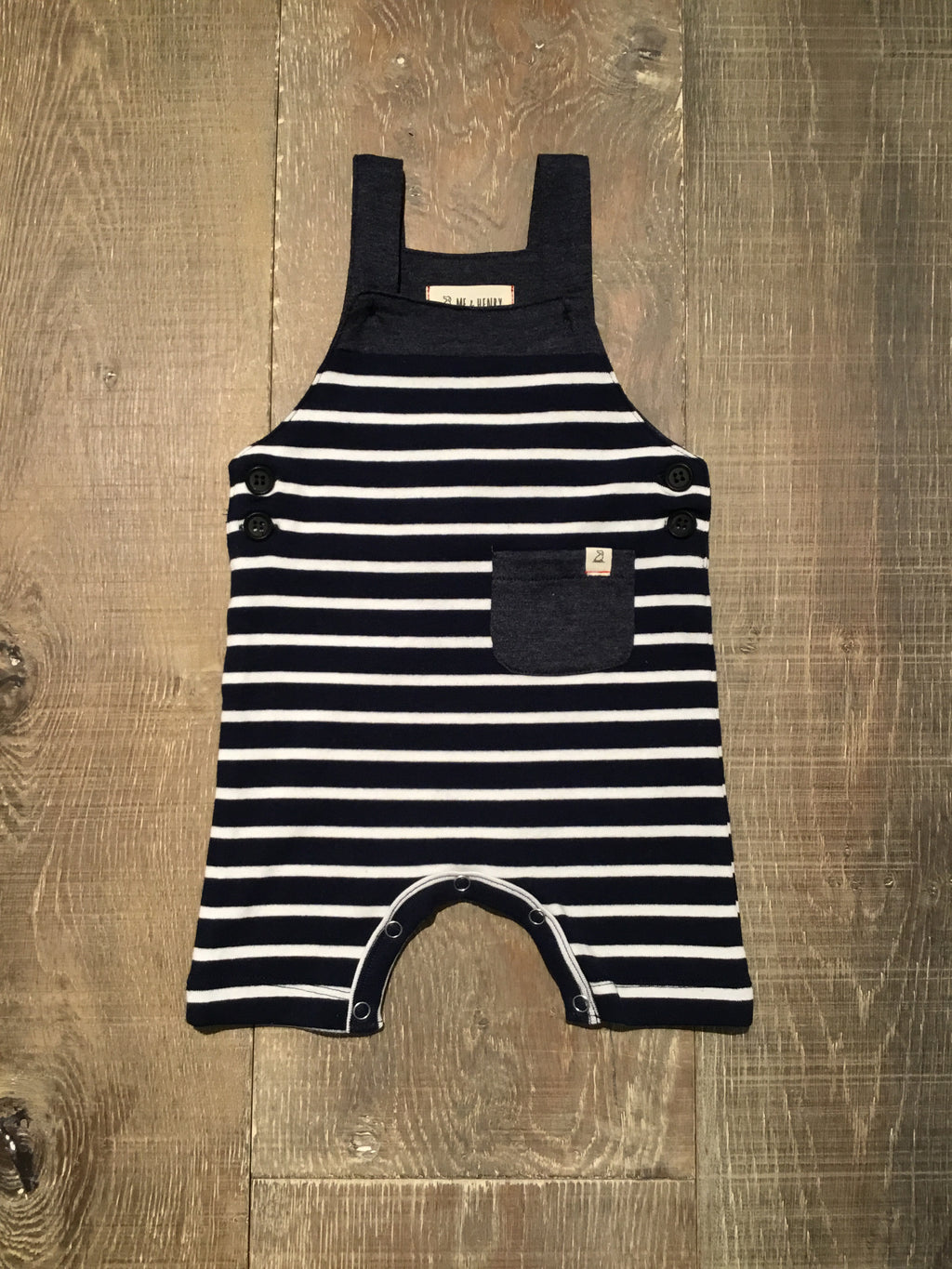 Me & Henry Navy Striped Overalls