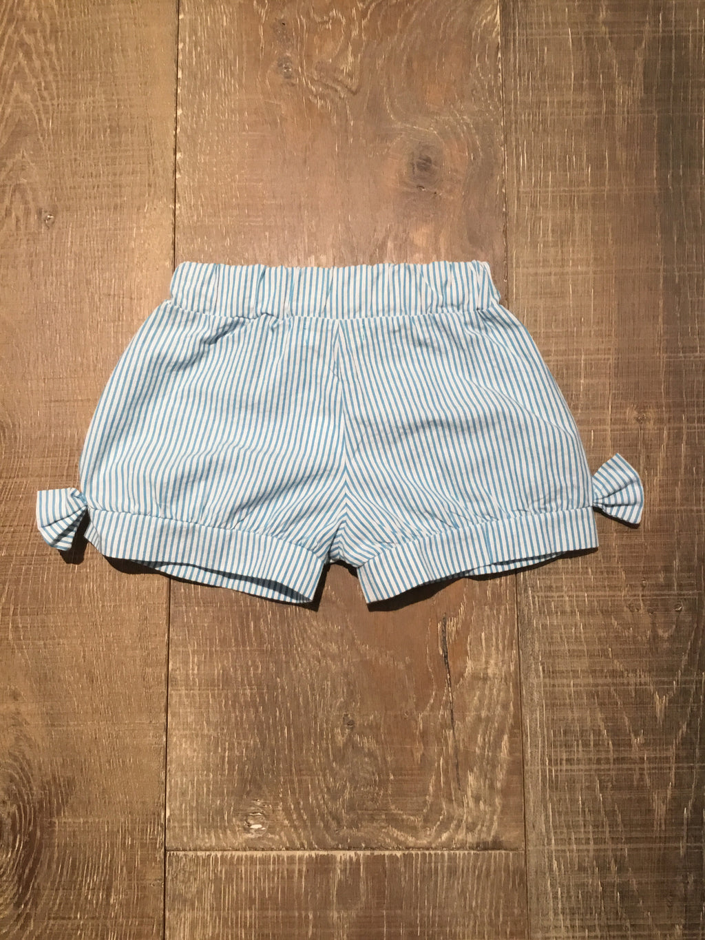 Turquoise & White Seersucker Bow Shorts