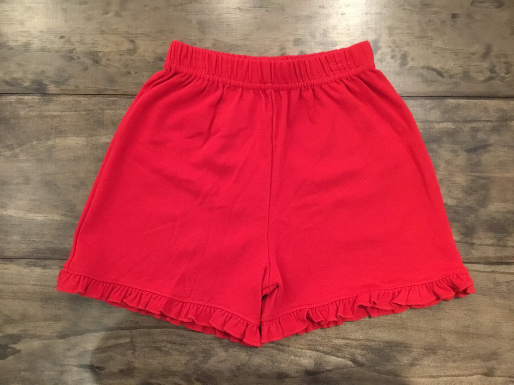 Deep Red Ruffle Edge Shorts by Luigi Kids