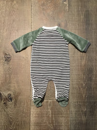 Olive B&W Striped Pup Face Pjs