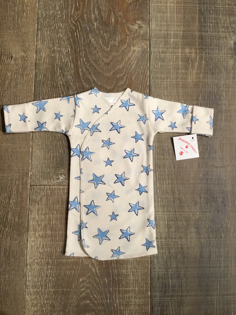 Blue Stars Preemie Long Shirt - Organic Cotton