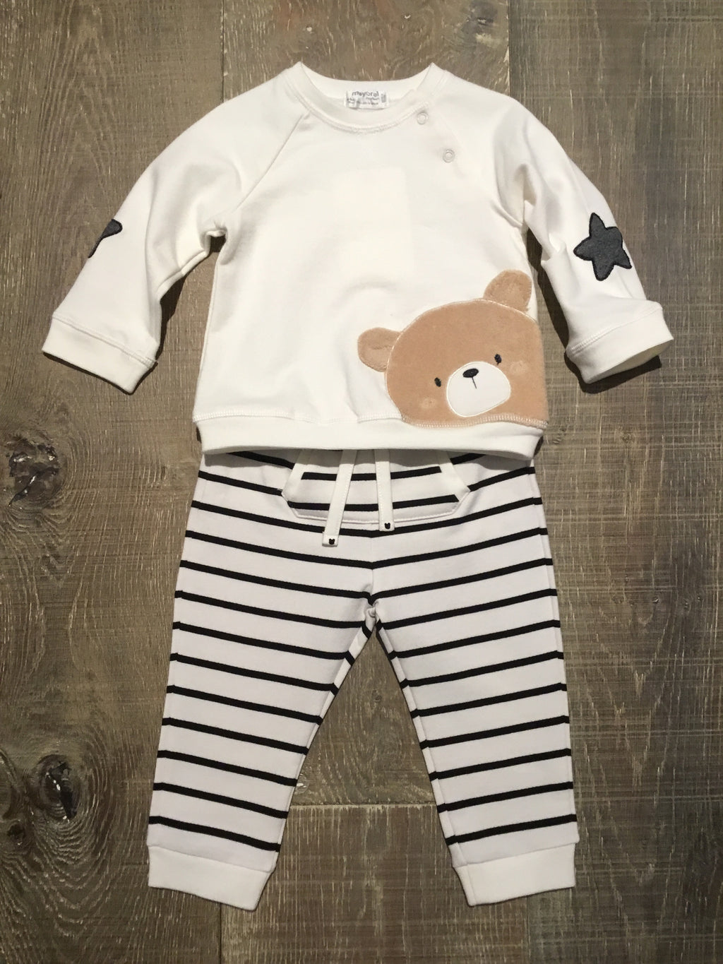 Bear Face on Ivory Shirt & Striped Pants