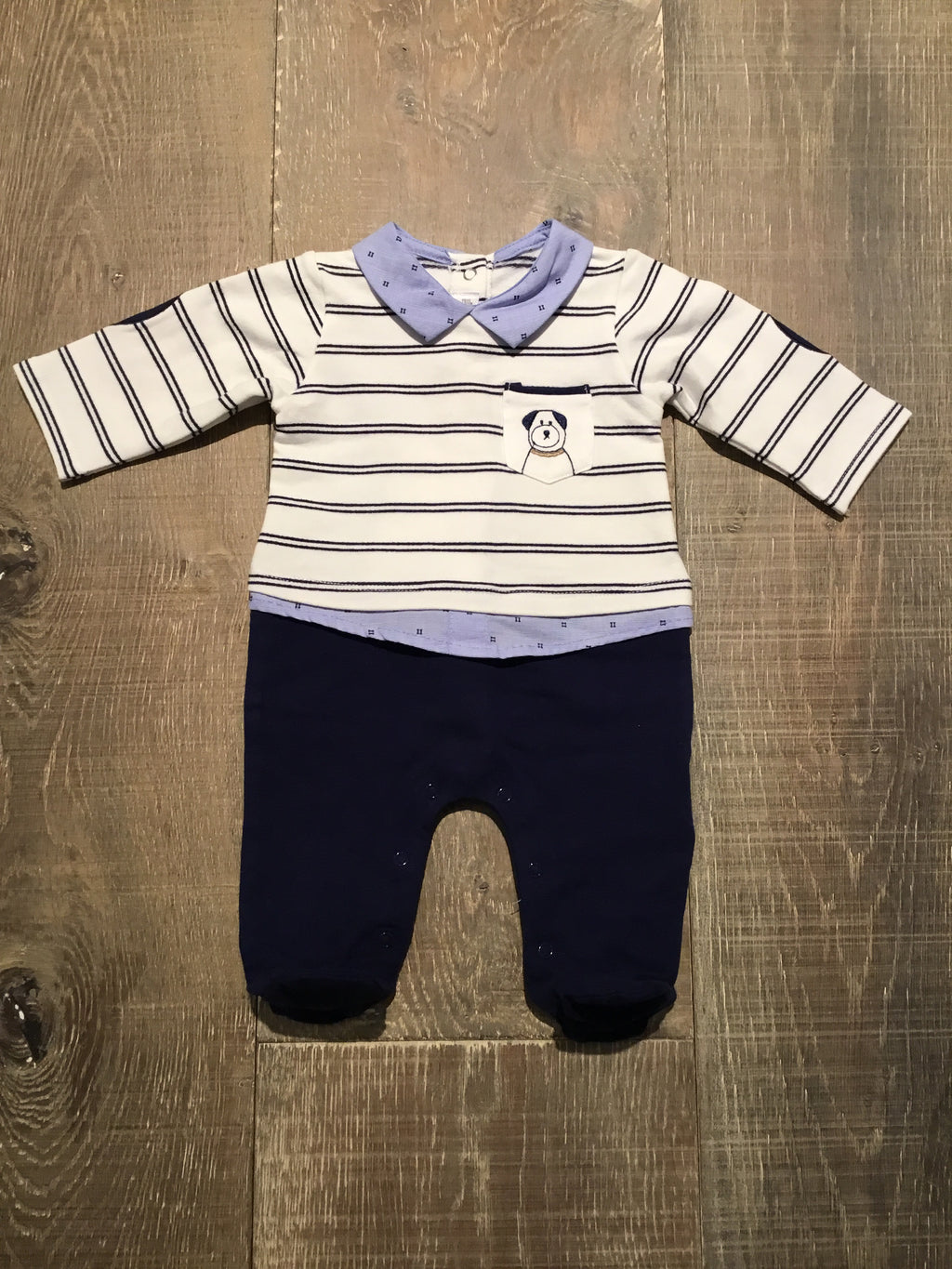 Navy Striped Dog Pocket Onesie