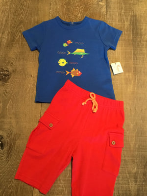 Fish Short Set in Blue and Red