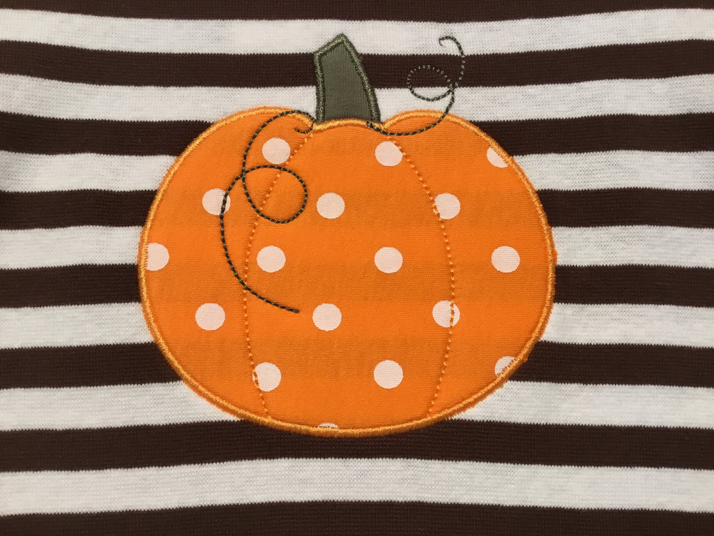 Pumpkin Dress with Chocolate/White Stripes