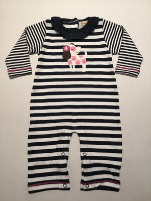 Puppy Dog Navy & White Striped Ruffle Coverall
