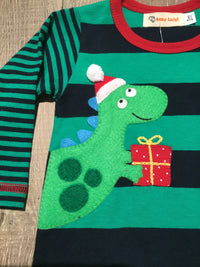 Christmas Dino Striped Coverall
