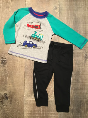 Transportation LS Tee & Black Sweat Pants