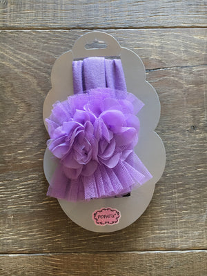 Lavender baby headband with tulle & flowers