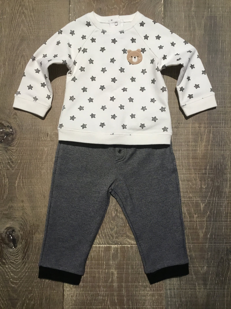 Ivory and Stars Teddy Bear Shirt & Pants Set