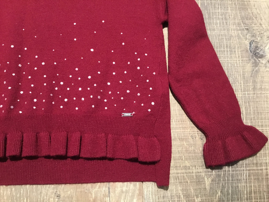 Dark Red Ruffle Sparkle Sweater