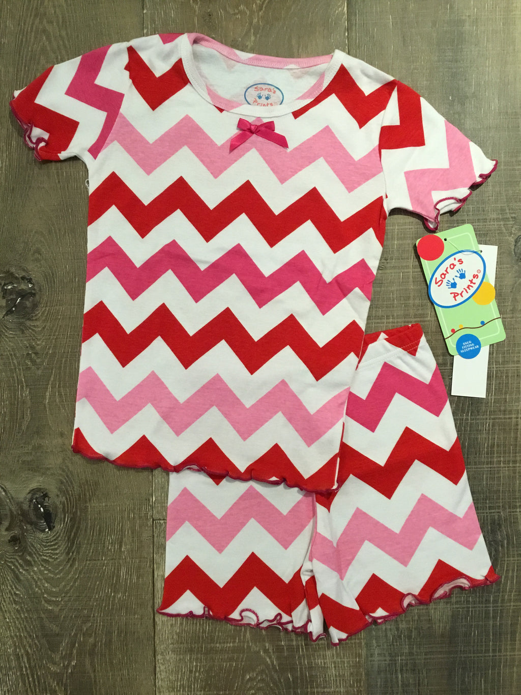 Red and Pink Chevron Short PJs