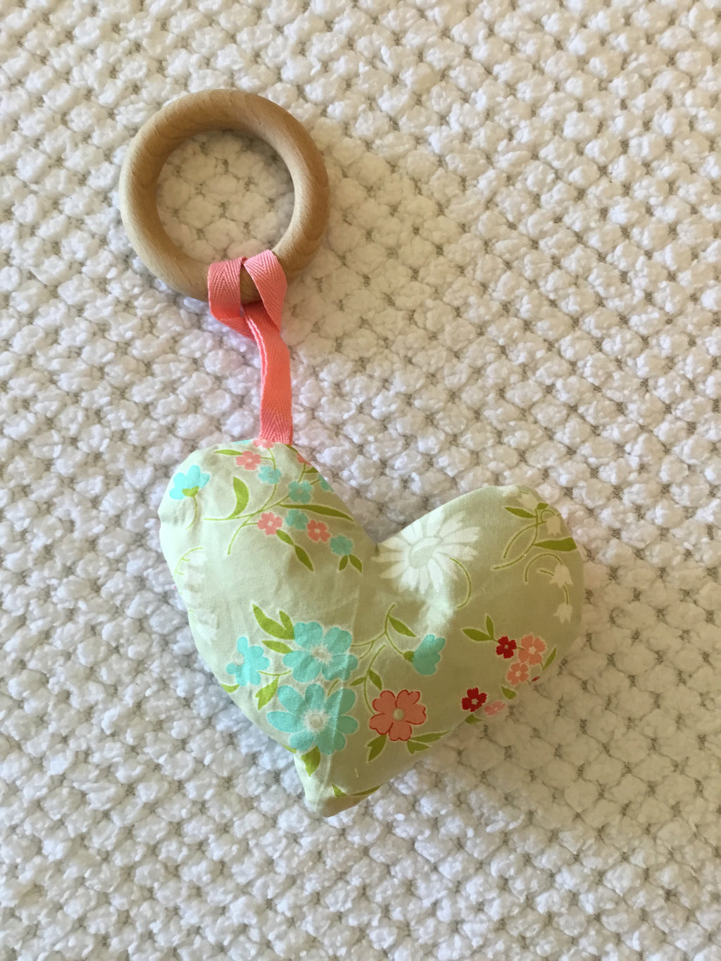 Natural Wooden Ring Heart Teether/Soother