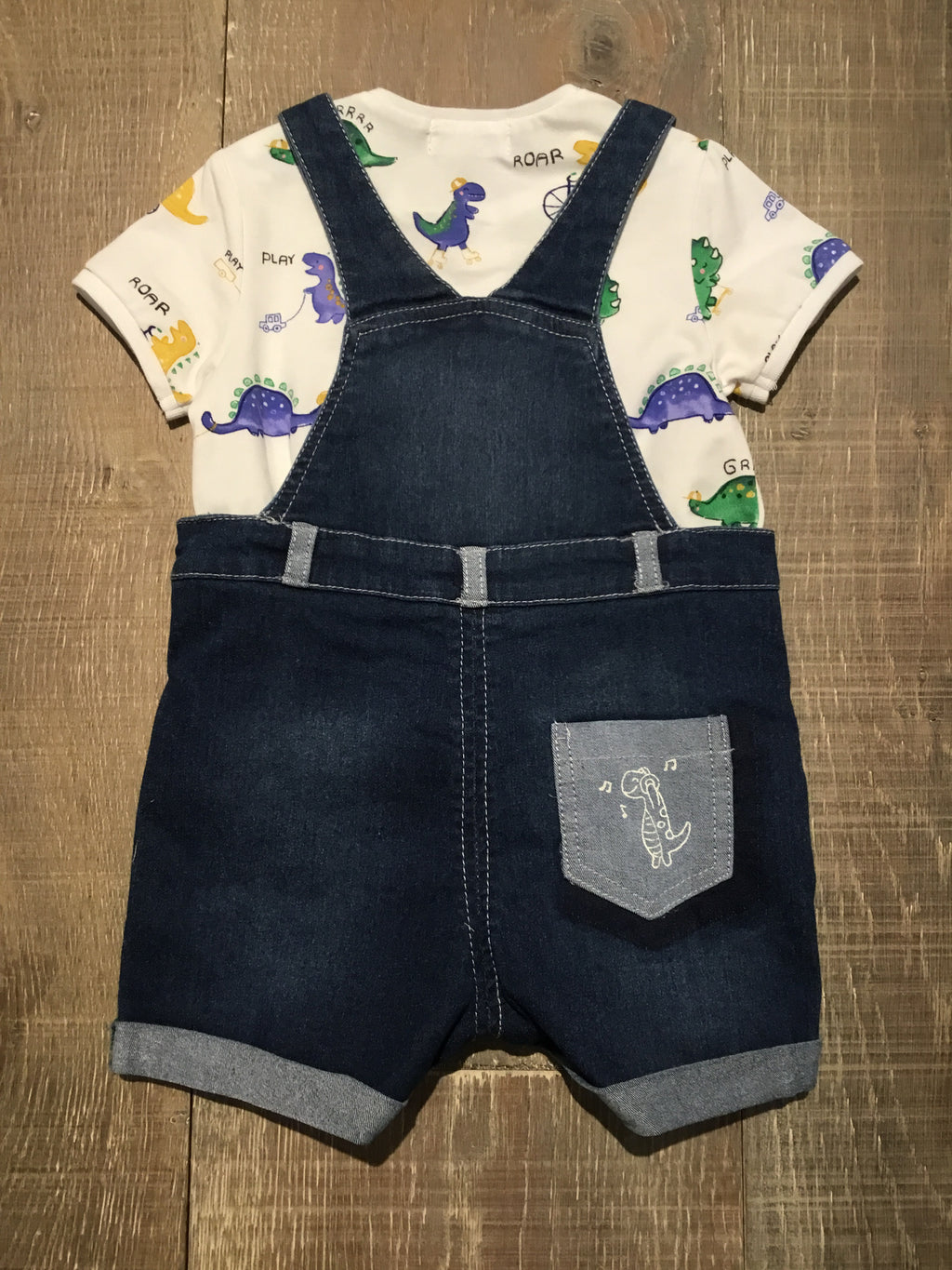 Dinos & Wheels Overall & Shirt Set
