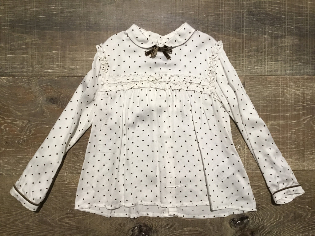 Mocha Dotted Cream Blouse