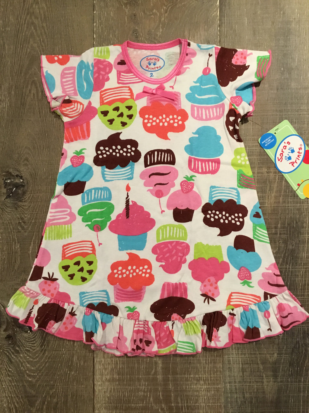 Cupcakes Ruffle Short Sleeve Night gown