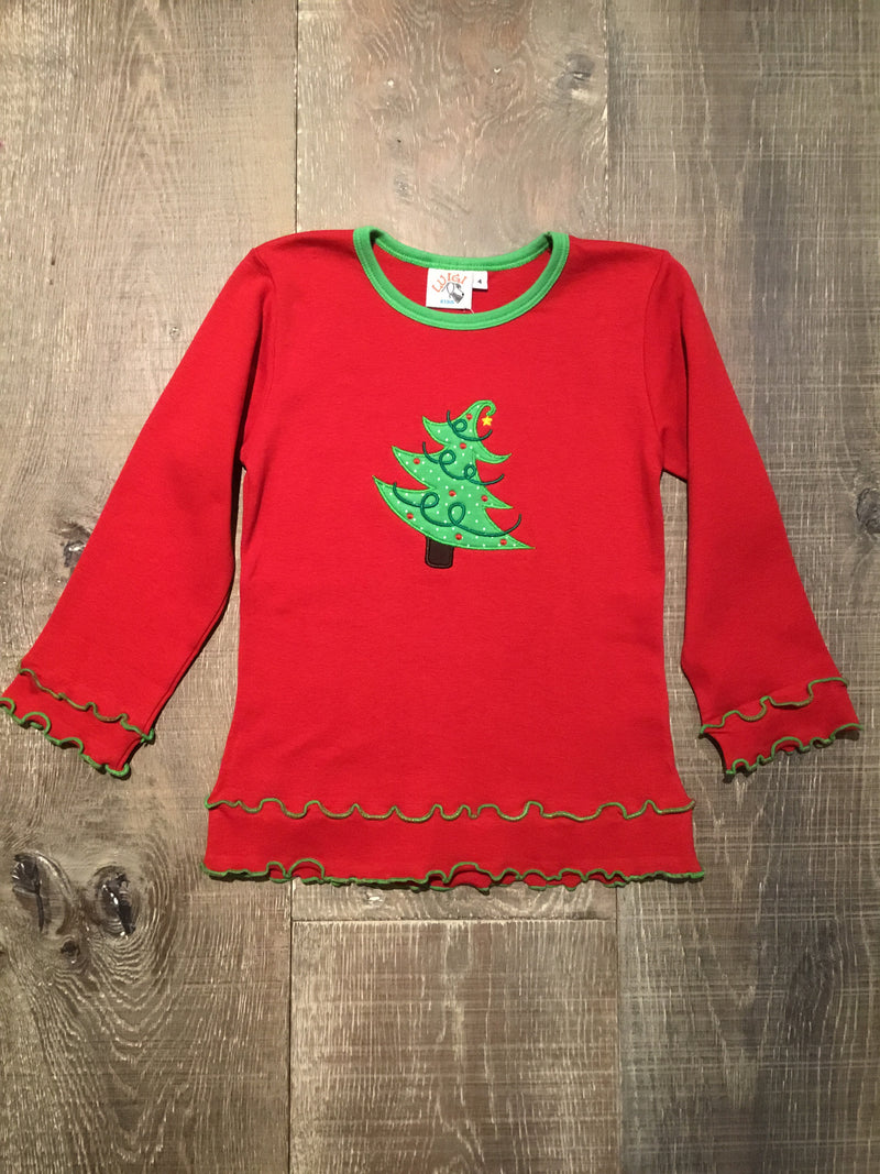 Girl's Christmas Tree Red LS Tee