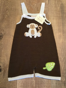 Brown and Blue Monkey Knit Overalls