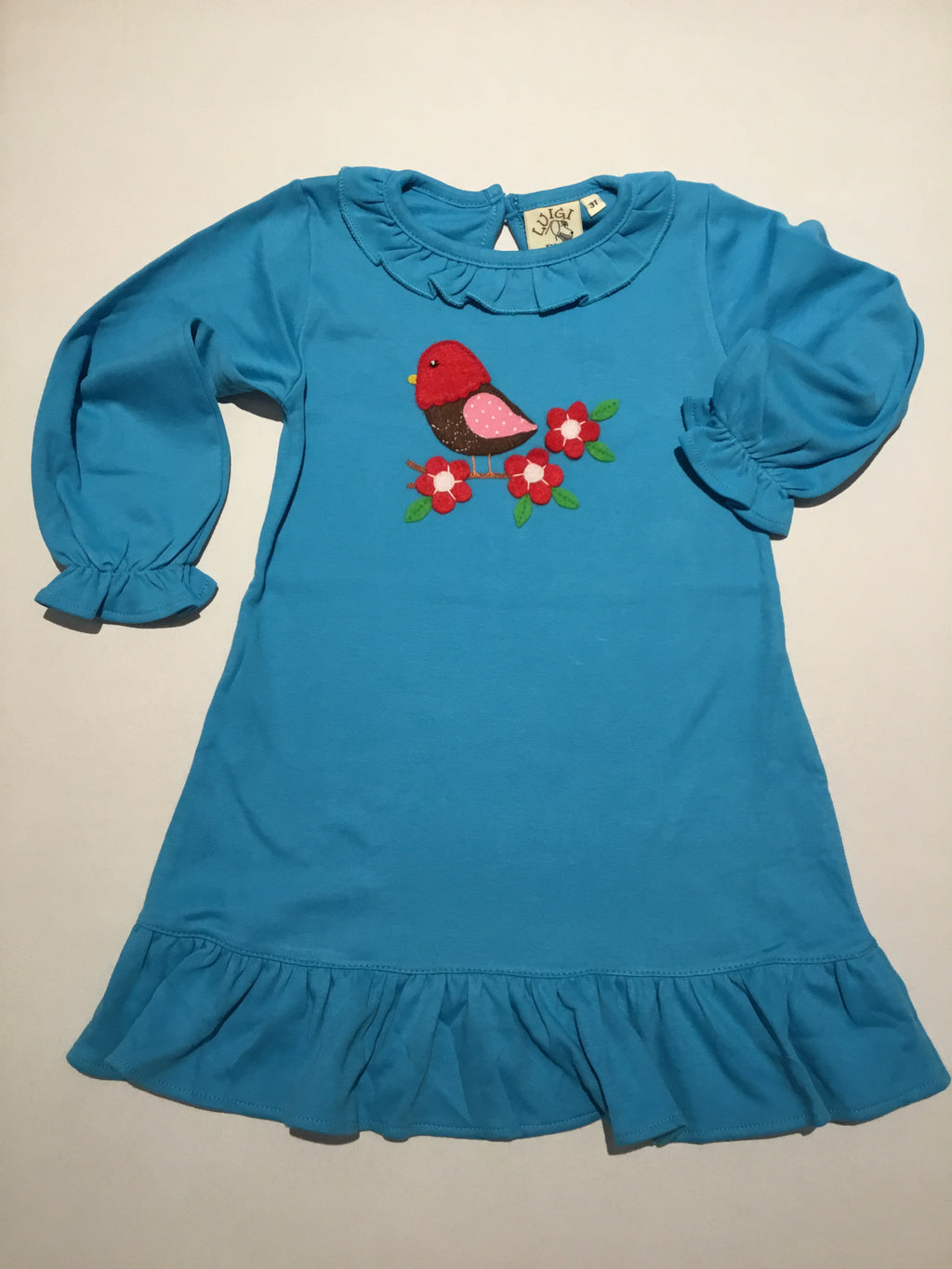 Red Bird on Turquoise Ruffle L.S.Dress