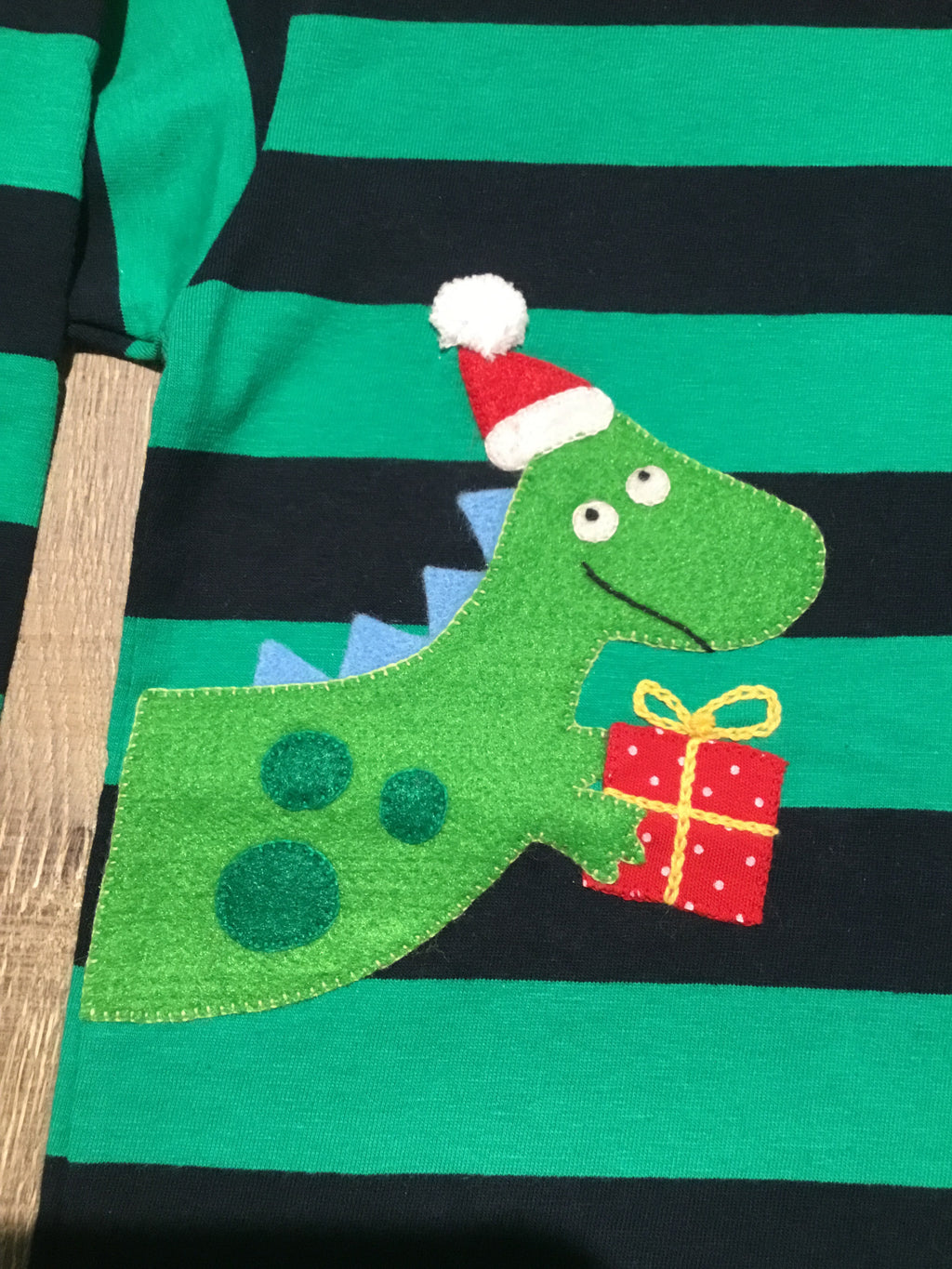 Christmas Dino Striped LS Tee