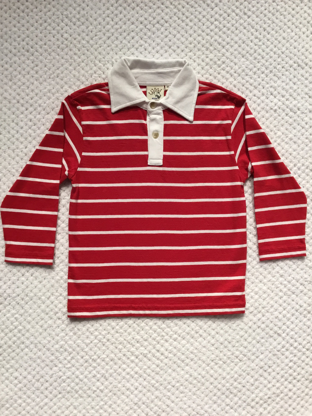 Red and White Striped Long Polo