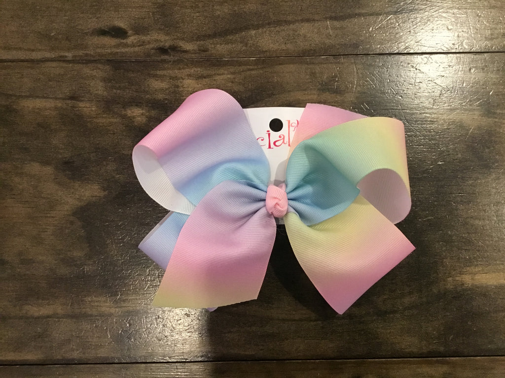 Giant French Clip Pastel Rainbow Bow