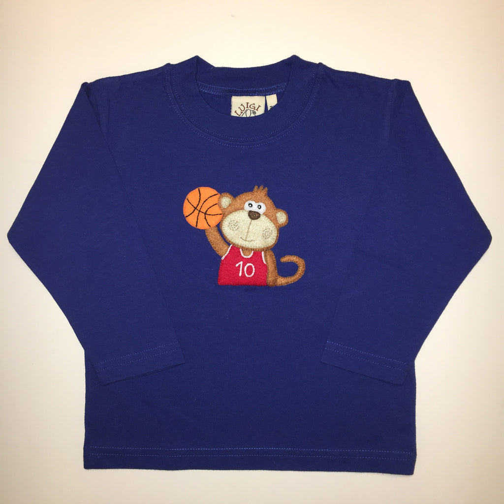 Luigi Kids Monkey with Basketball Long Sleeved T-shirt