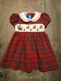 Santa's Sleigh Smocked Plaid Dress