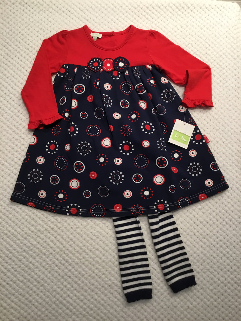 Dots of Fun Red and Navy Long Dress and Leggings