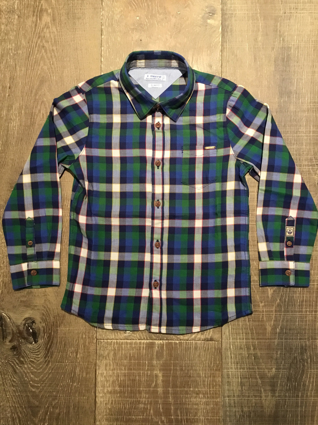 Blue and Green Plaid Long Sleeve Dress Shirt