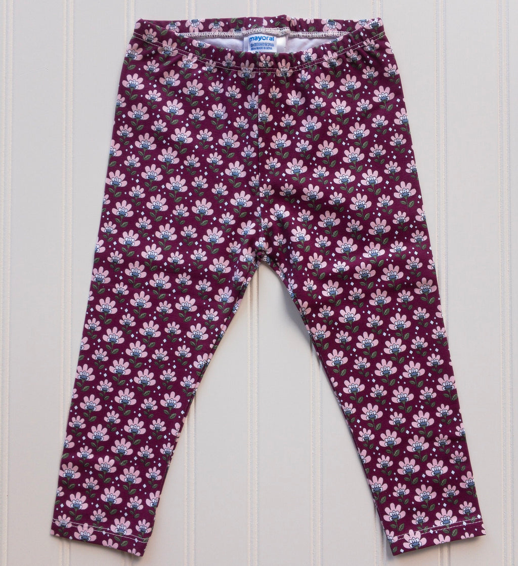 Floral Burgundy and Pink Leggings