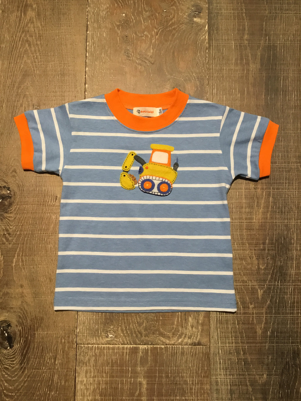 Backhoe on Chambray Stripe Tee