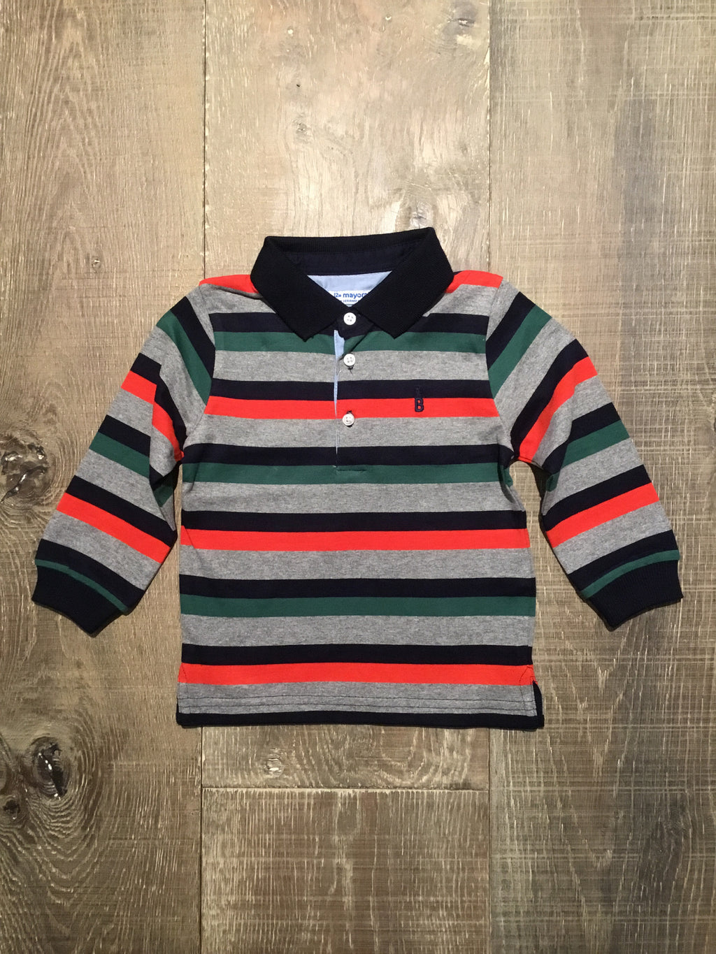 Multi Color Striped Polo Long Sleeve Shirt