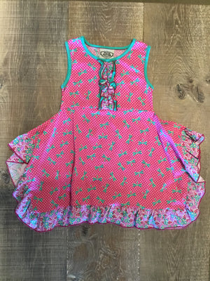 Pink and Teal Dragonfly Dress