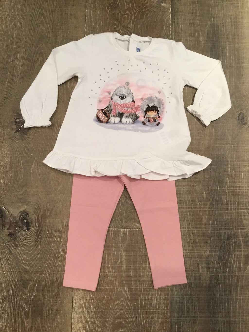 """Choco"" Top and Pink Leggings Set"