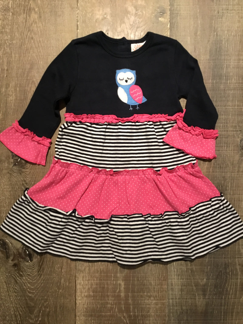 Owl Navy and Pink Tiered L.S. Dress