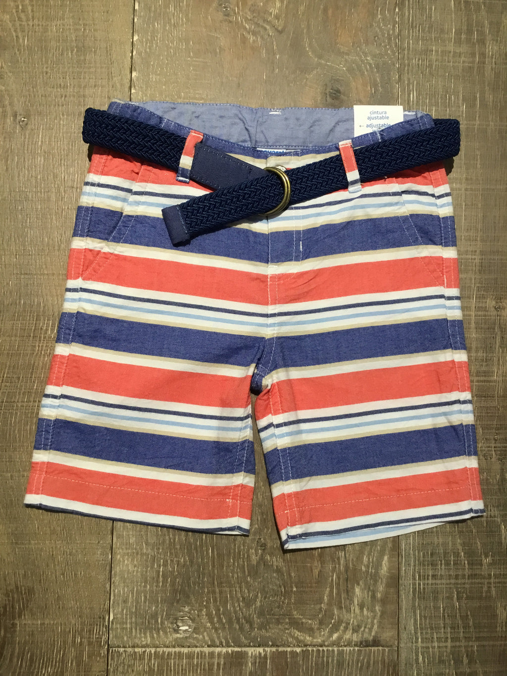 Blue & Red Oxford Shorts & Belt