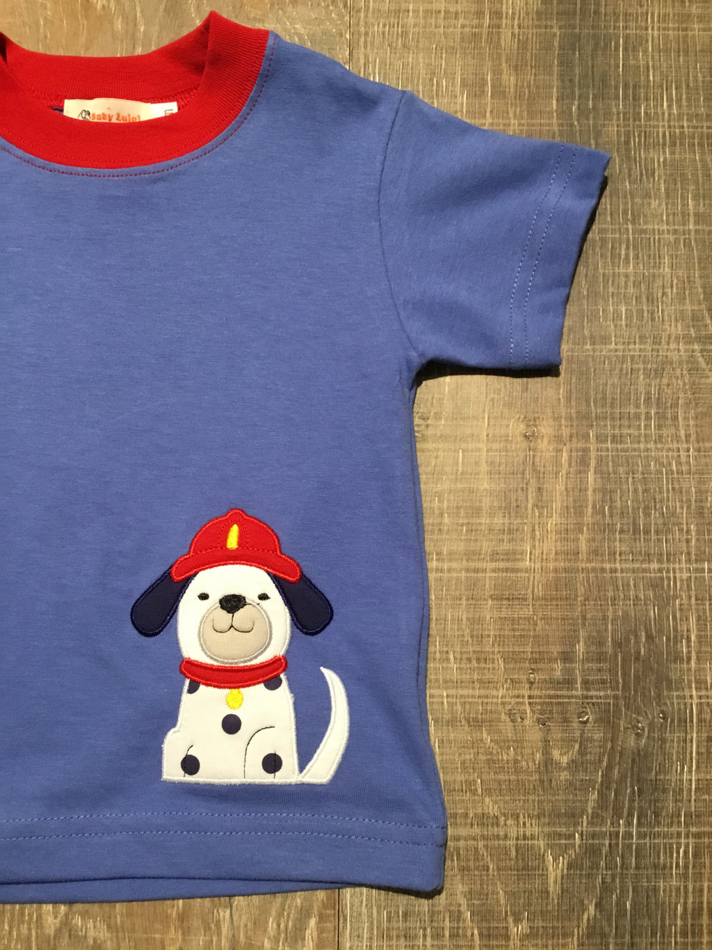 Dalmatian Fire Pup on Chambray Tee
