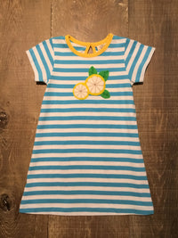 Lemon Slice Turquoise Stripe Dress