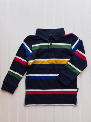 Navy and Multi-Color Striped Long Sleeve Polo