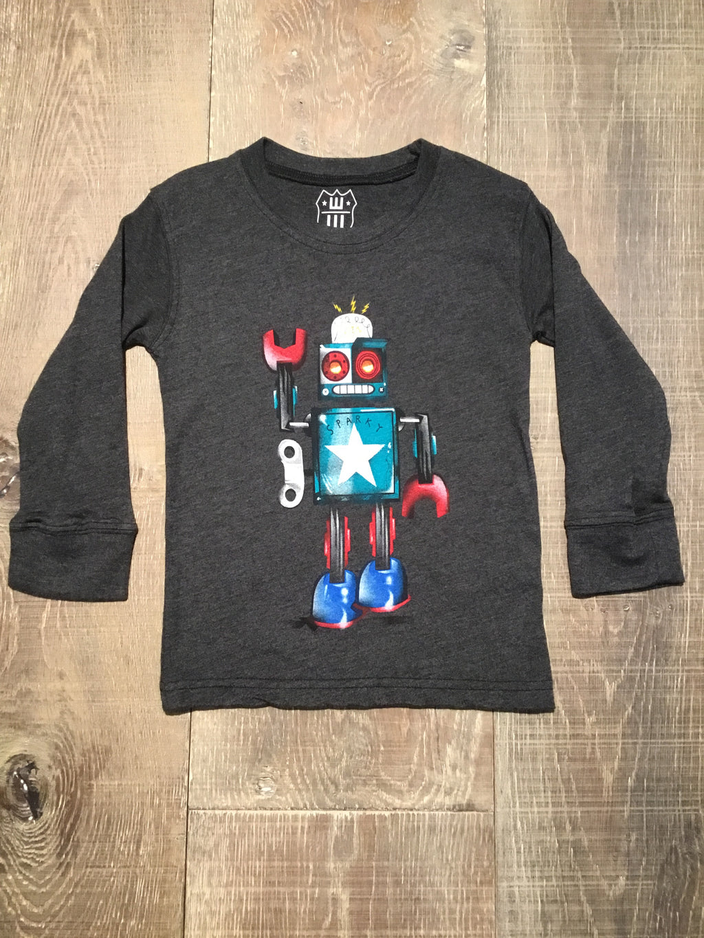 Robot Dark Grey LS Tee