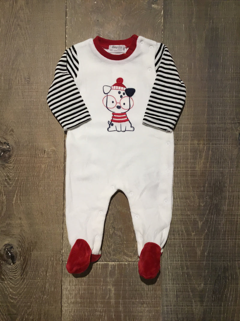 Ivory & Red Puppy Pjs