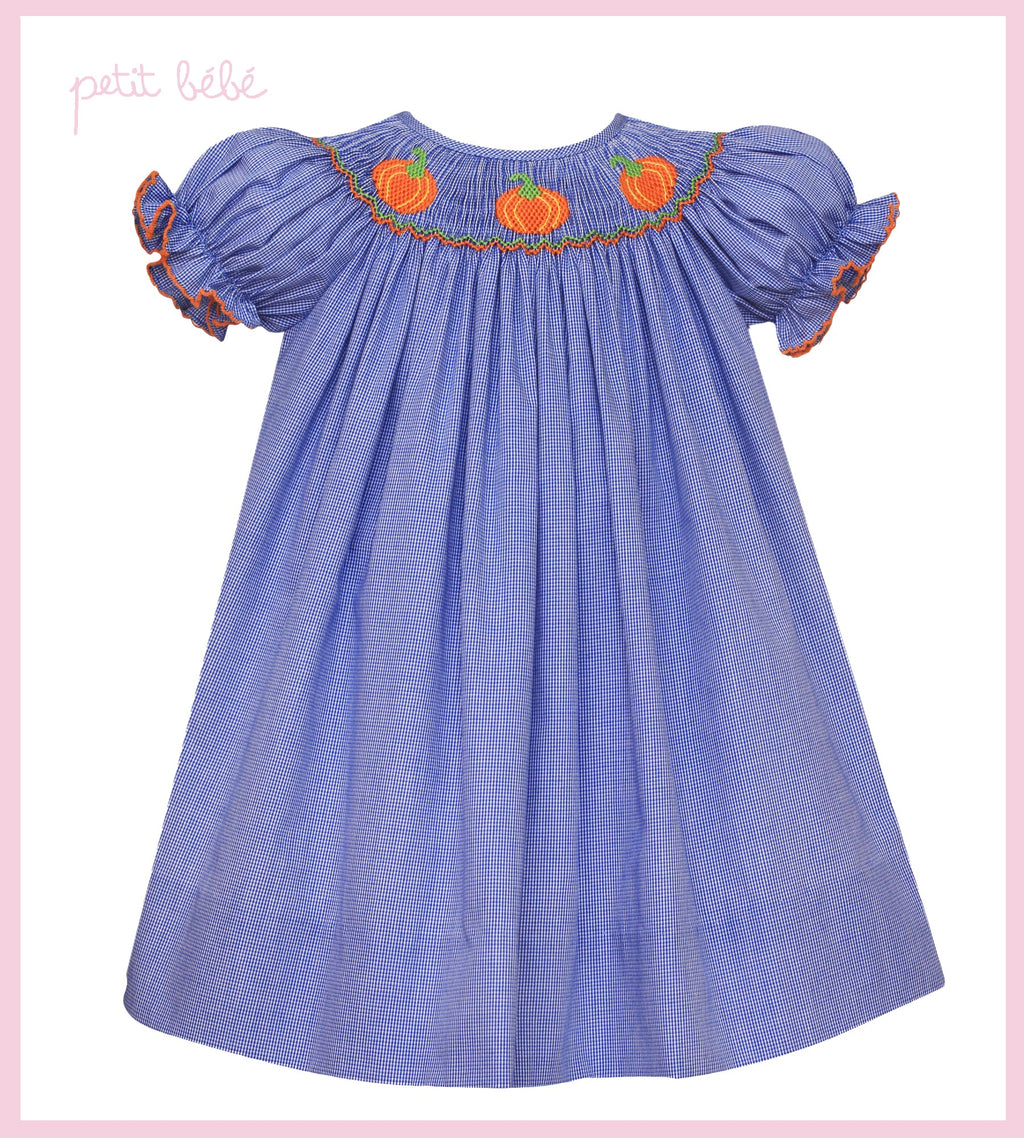 LAST ONE - 4t - Smocked Pumpkin Bishop Dress